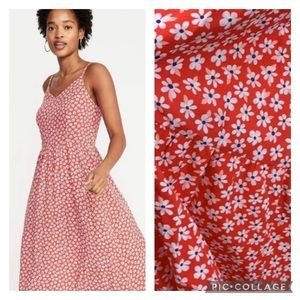 NWT Old Navy cami midi red ditsy floral sundress